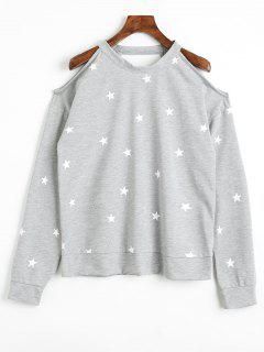 Star Cut Out Cold Shoulder Sweatshirt - Gray Xl