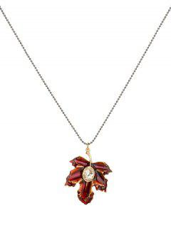 Artificial Crystal Maple Leaf Necklace - Red