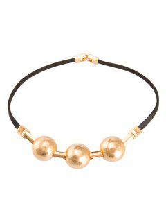Faux Leather Alloy Choker Necklace - Golden