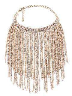Faux Crystal Long Tassel Chokers Necklace - Golden