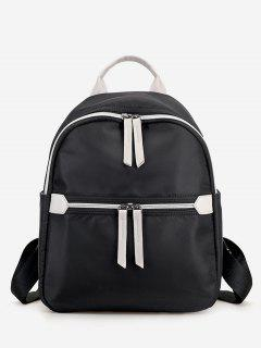 Nylon Contrasting Color Backpack - Black