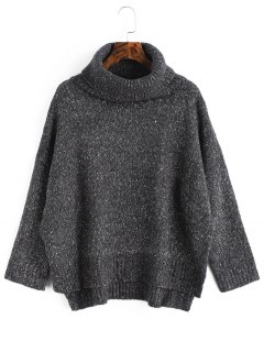 Heathered High Low Turtleneck Sweater - Deep Gray