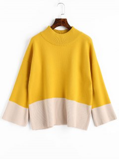Two Tone High Neck Sweater - Yellow