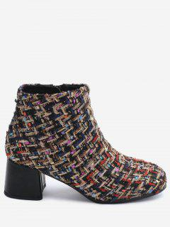 Chunky Heel Tweed Ankle Boots - 36