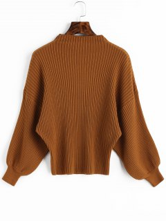 Lantern Sleeve Ribbed Mock Neck Sweater - Light Brown