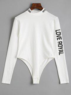 Long Sleeve Skinny Letter Bodysuit - White S