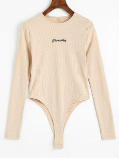 Knitted Long Sleeve Embroidered Bodysuit - Apricot S