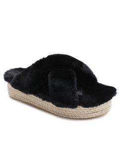 Faux Fur Espadrille Sole Platform Slipper - Black 36