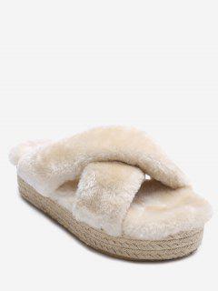 Faux Fur Espadrille Sole Platform Slipper - Apricot 36