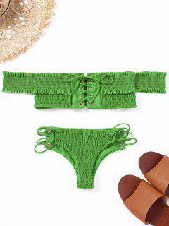 Conjunto De Bikini Con Cordones Y Hombros Al Descubierto - Verde Manzana S