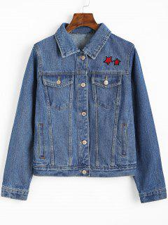 Button Up Star Embroidered Denim Jacket - Denim Blue S