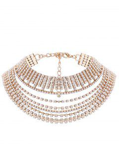 Multilayered Rhinestone Chokers Necklace - Golden