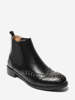 Stack Heel Studded Chelsea Boots - Black 38