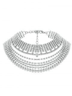 Multilayered Rhinestone Chokers Necklace - Silver