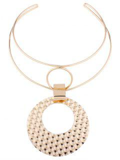 Metal Geometric Cuff Necklace - Golden