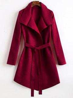 Manteau En Laine Mélangée Asymétrique à Ceinture - Rouge Vineux  M