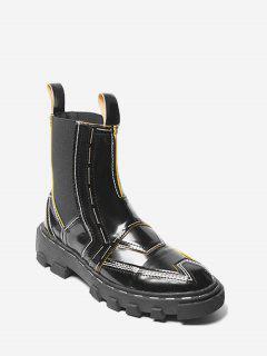 Color Block Low Heel Chelsea Boots - Black 39