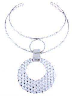 Metal Geometric Cuff Necklace - Silver
