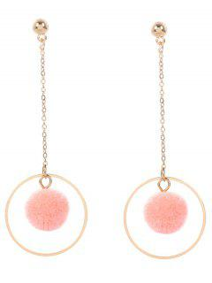 Metal Fuzzy Ball Circle Chain Earrings - Pink
