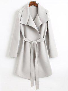 Belted Asymmetrical Wool Blend Coat - Light Gray M