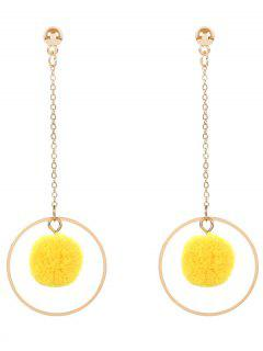 Metal Fuzzy Ball Circle Chain Earrings - Yellow
