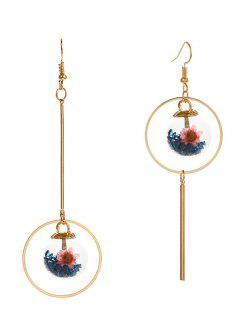 Asymmetric Glass Flower Bar Circle Earrings - Blue