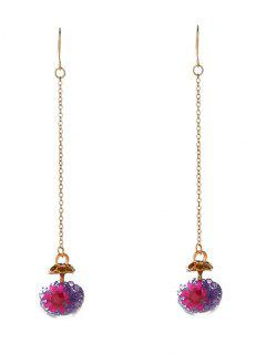 Glass Flower Chain Hook Earrings - Purple