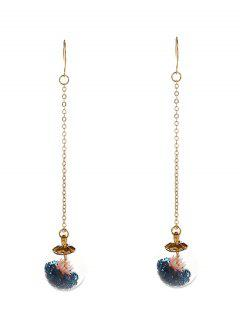 Glass Flower Chain Hook Earrings - Blue
