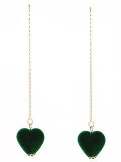 Velvet Heart Chain Earrings - Green