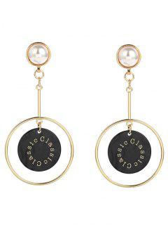 Faux Pearl Circle Disc Earrings - Black