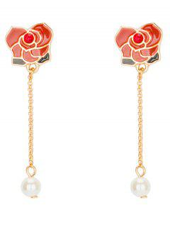 Rhinestone Faux Pearl Flower Chain Earrings - Red