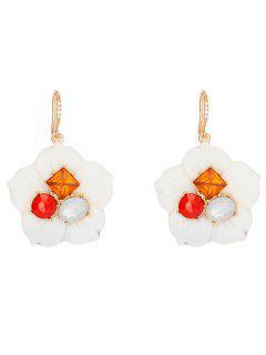 Resin Faux Crystal Flower Earrings - White