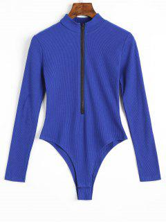 Knitted Long Sleeve Front Zip Bodysuit - Blue M