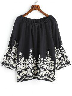 Raglan Sleeve Floral Embroidered Blouse - Black 2xl