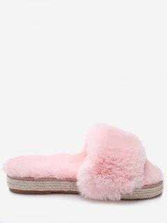 Espadrille Sole Indoor Faux Fur Strap Slippers - Light Pink 36