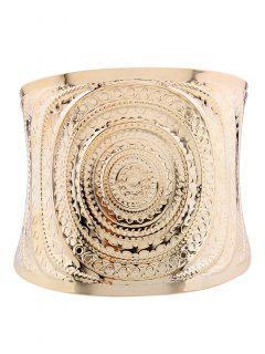 Spiral Pattern Metal Cuff Bracelet - Golden