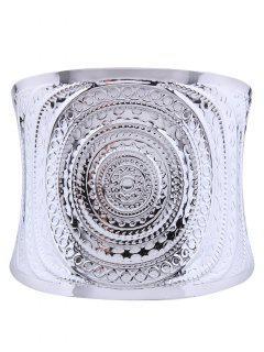 Spiral Pattern Metal Cuff Bracelet - Silver