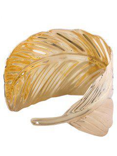 Leaf Shape Metal Cuff Bracelets - Golden