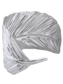 Leaf Shape Metal Cuff Bracelets - Silver