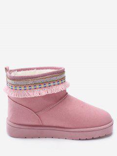 Slip On Low Heel Snow Boots - Pink 36