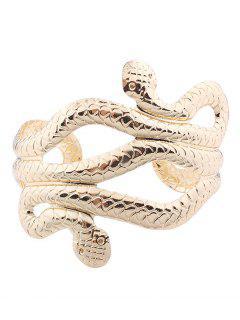Snake Shape Multilayered Cuff Bracelets - Golden