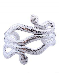 Snake Shape Multilayered Cuff Bracelets - Silver