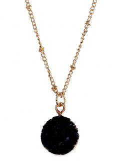 Natural Stone Round Necklace - Black