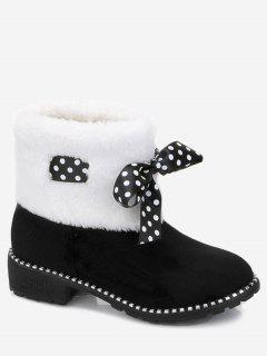 Low Heel Bow Faux Fur Ankle Boots - Black 38