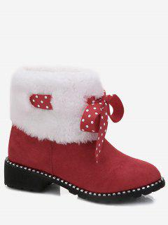 Low Heel Bow Faux Fur Ankle Boots - Red 36