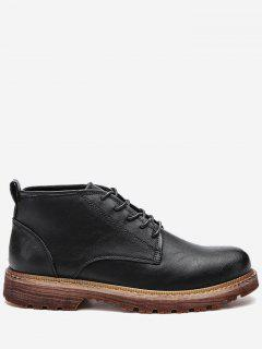 Round Toe Artificial Leather Ankle Boots - Black 39
