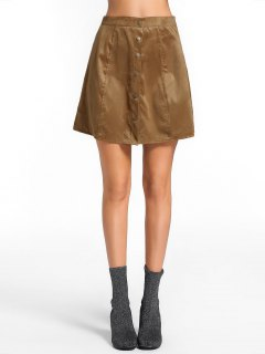 High Waist Button Up Mini Skirt - Brown M