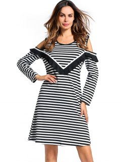U Neck Cold Shoulder Striped Dress - Black Xl