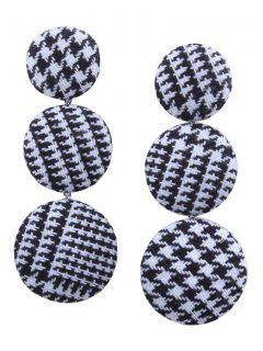 Houndstooth Round Shape Drop Earrings - Black White