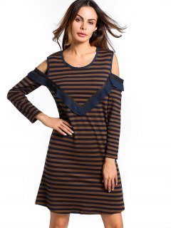 U Neck Cold Shoulder Striped Dress - Brown S